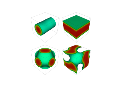 Four types of nuclear pasta, clockwise from top left: Spaghetti, lasagna, gyroid and P-surface shape. (Image taken from B. Schuetrumpf and W. Nazarewicz Phys. Rev. C 92, 045806 (2015))
