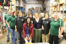 Seven members of the iCER team at MSU spent a morning volunteering at City Rescue Mission Upscale Thrift on Lansing's west side.